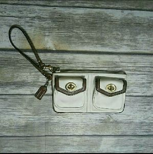 Coach White And Brown Wristlet